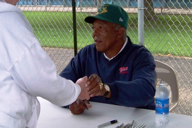 Tony Oliva signed autographs at Beloit's Pohlman Field in 2011. (Photo by Craig Wieczorkiewicz/The Midwest League Traveler)