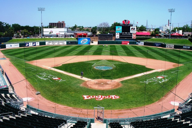 Jackson Field inside Cooley Law School Stadium, as seen from the press boxes. (Photo by Craig Wieczorkiewicz/The Midwest League Traveler)