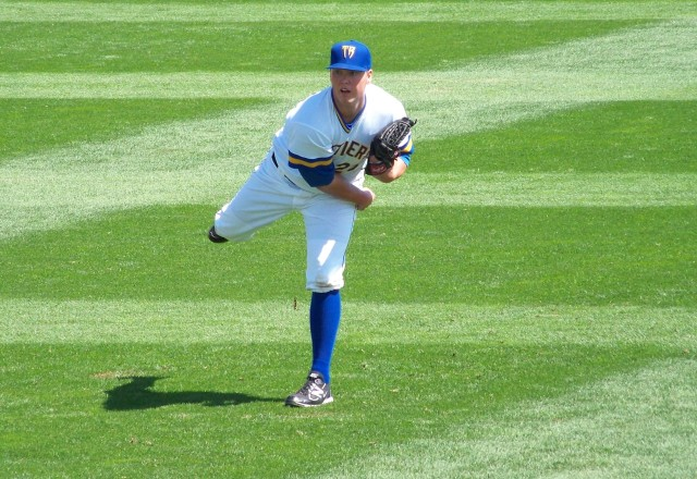 Then-Wisconsin Timber Rattlers SP Jimmy Nelson warms up before a game in 2011. (Photo by Craig Wieczorkiewicz/The Midwest League Traveler)