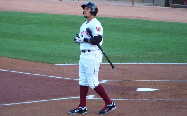 Carlos Gomez steps outside the batter's box during his 2011 rehab stint with the Wisconsin Timber Rattlers. (Photo by Craig Wieczorkiewicz/The Midwest League Traveler)