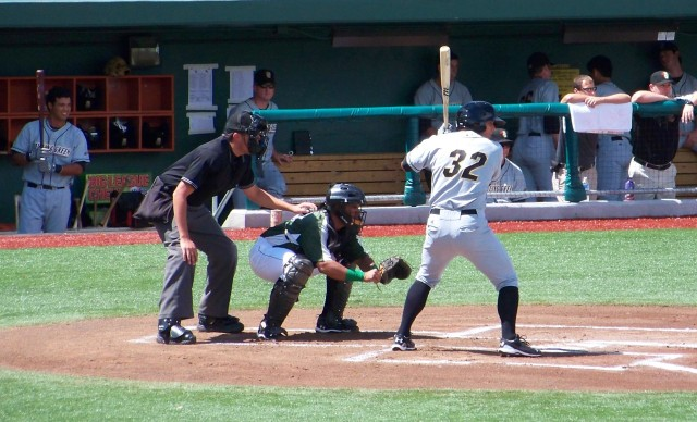 Derek Dietrich batting as a member of the 2011 Bowling Green Hot Rods.