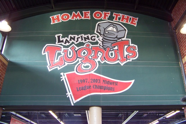 The Lansing Lugnuts logo greets fans when enter Cooley Law School Stadium. (Photo by Craig Wieczorkiewicz/The Midwest League Traveler)