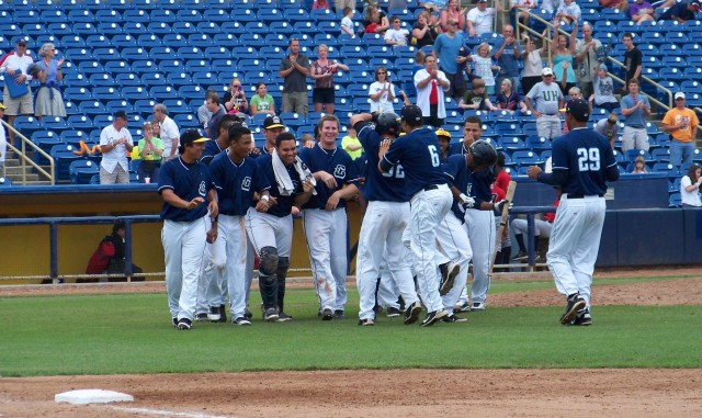 The Lake County Captains celebrate a walk-off win at Classic Park in 2011. (Photo by Craig Wieczorkiewicz/The Midwest League Traveler)