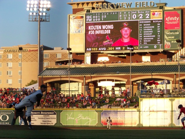 Kolten Wong on the Parkview Field scoreboard during a 2011 game in Fort Wayne. (Photo by Craig Wieczorkiewicz/The Midwest League Traveler)