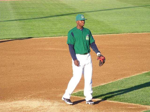 Miguel Sano playing third base for the Beloit Snappers last year