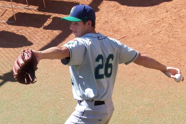 Donn Roach throws in the bullpen as a member of the 2011 Cedar Rapids Kernels. (Photo by Craig Wieczorkiewicz/The Midwest League Traveler)
