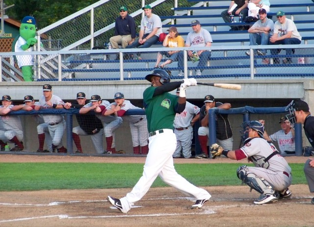 Miguel Sano slugs a 3-run homer for the Beloit Snappers in 2012. (Photo by Craig Wieczorkiewicz/The Midwest League Traveler)