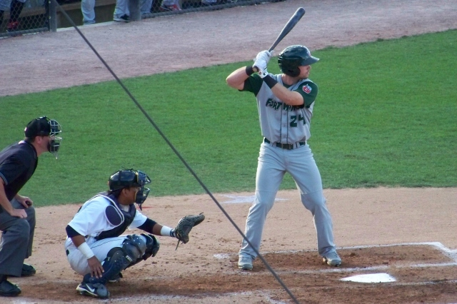 Austin Hedges batting for the 2012 Fort Wayne TinCaps (Photo by Craig Wieczorkiewicz/The Midwest League Traveler)