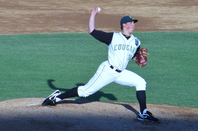 Kyle Zimmer pitching for the Kane County Cougars in 2012. (Photo by Craig Wieczorkiewicz/The Midwest League Traveler)