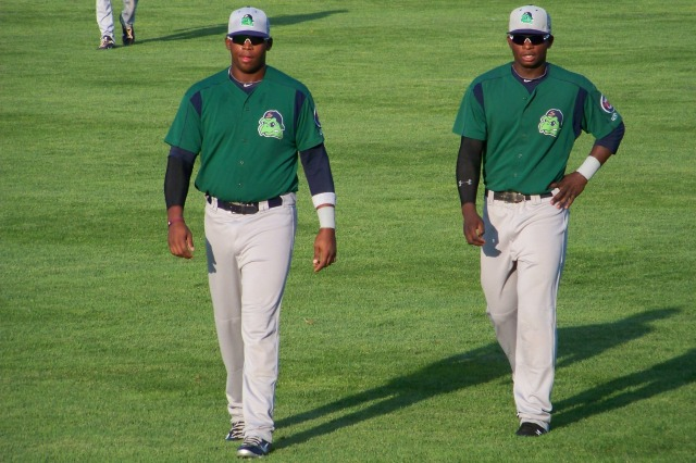 Minnesota Twins prospects Kennys Vargas (left) and Miguel Sano were teammates on the 2012 Beloit Snappers. (Photo by Craig Wieczorkiewicz/The Midwest League Traveler)