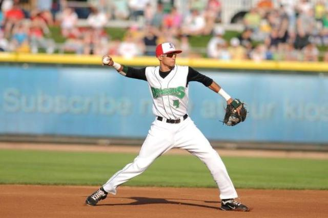 Billy Hamilton playing shortstop with the Dayton Dragons in 2011. (Photo courtesy of the Dayton Dragons)