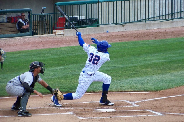 Jorge Soler swings at a pitch while batting for the Peoria Chiefs in 2012. (Photo by Craig Wieczorkiewicz/The Midwest League Traveler)