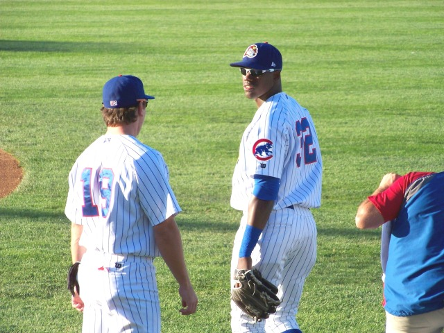 Jorge Soler (right) and Bijan Rademacher when the two outfielders played for the Peoria Chiefs in 2012. (Photo by Craig Wieczorkiewicz/The Midwest League Traveler)
