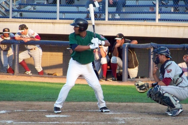 Eddie Rosario bats for the Beloit Snappers in 2012. He led the American League in triples this year. (Photo by Craig Wieczorkiewicz/The Midwest League Traveler)
