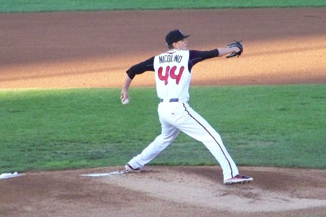 Justin Nicolino pitches for the Lansing Lugnuts in Game 2 of the 2011 Midwest League Championship Series. (Photo by Craig Wieczorkiewicz/The Midwest League Traveler)