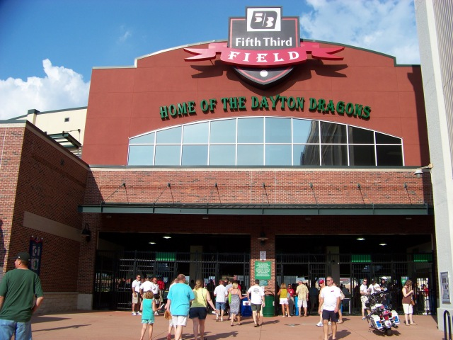 The main entrance to Fifth Third Field, home of the Dayton Dragons. (Photo by Craig Wieczorkiewicz/The Midwest League Traveler)