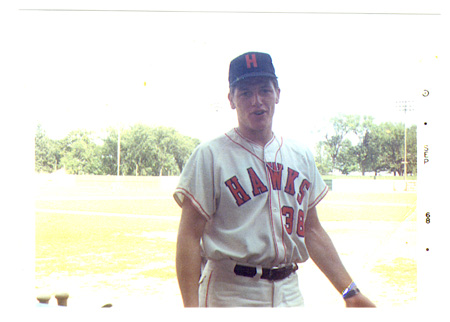 Carlton Fisk wearing the home uniform of the 1968 Waterloo Hawks. (Photo from CarltonFisk.com)