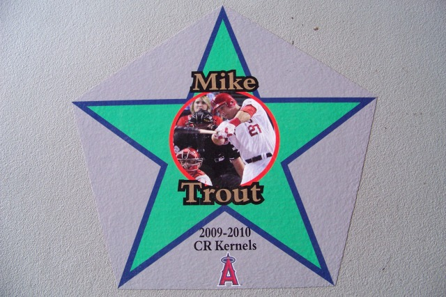 Mike Trout's star on the walk of fame inside Veterans Memorial Stadium, home of the Cedar Rapids Kernels. (Photo by Craig Wieczorkiewicz/The Midwest League Traveler)