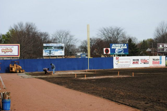 Outfield reconstruction work was done at Pohlman Field in late October and early November.