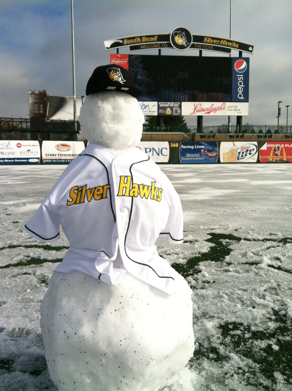 Covey the Snowman patrols center field for the Silver Hawks.