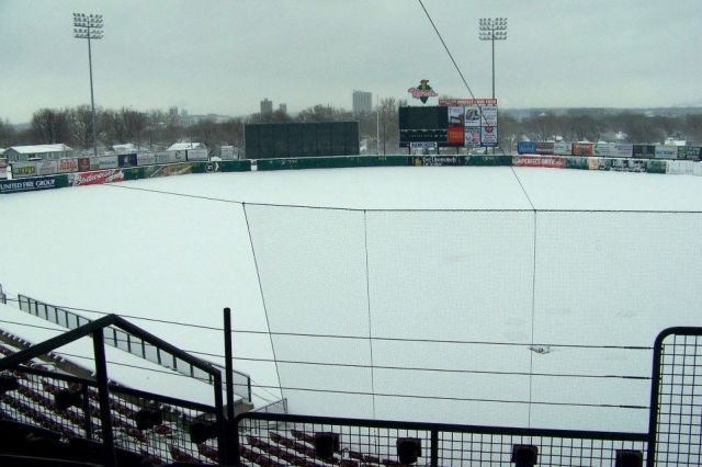 Perfect snow on Perfect Game Field inside Veterans Memorial Stadium, home of the Cedar Rapids Kernels.