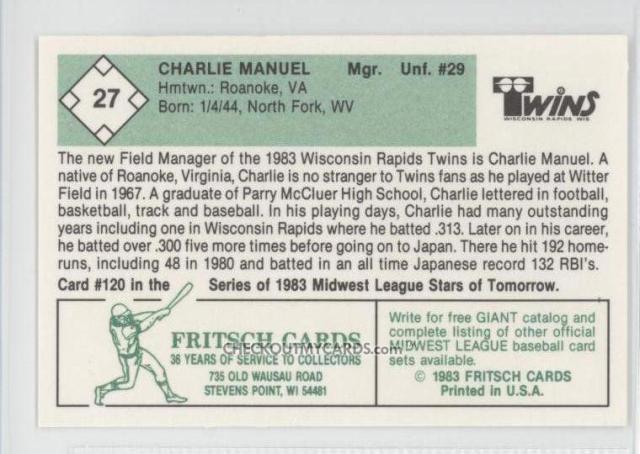 The back of Charlie Manuel's 1983 baseball card.