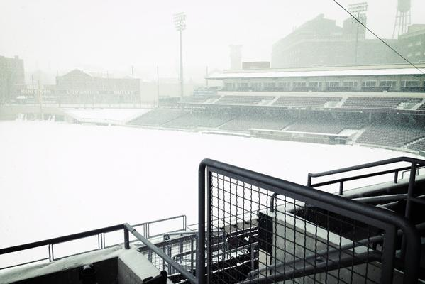 Snow falls on Fifth Third Field, home of the Dayton Dragons, on Friday.