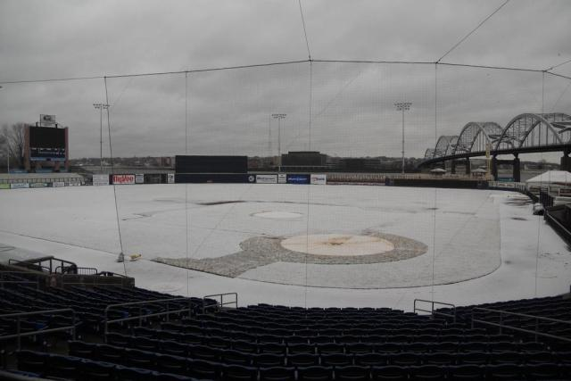 Modern Woodmen Park, home of the Quad Cities River Bandits, at noon today.