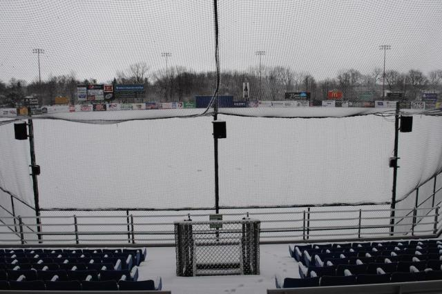 Snow-covered Pohlman Field, home of the Beloit Snappers.