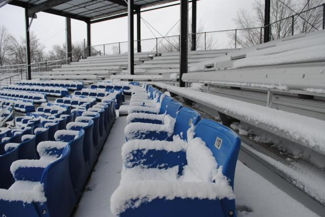 All the seats inside Pohlman Field are filled -- with snow.