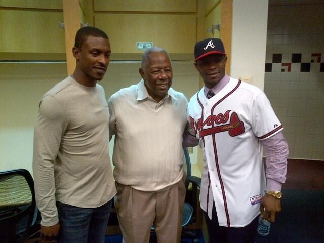 From left to right: B.J. Upton, Hank Aaron and Justin Upton.