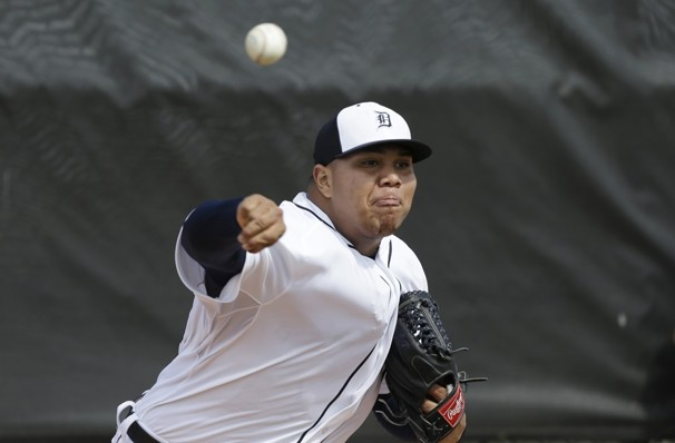 Bruce Rondon throws during a spring training session Tuesday. (Photo by Charlie Neibergall/Associated Press)