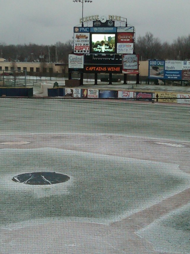 The scene at Classic Park this morning while the Captains crew tested their scoreboard.