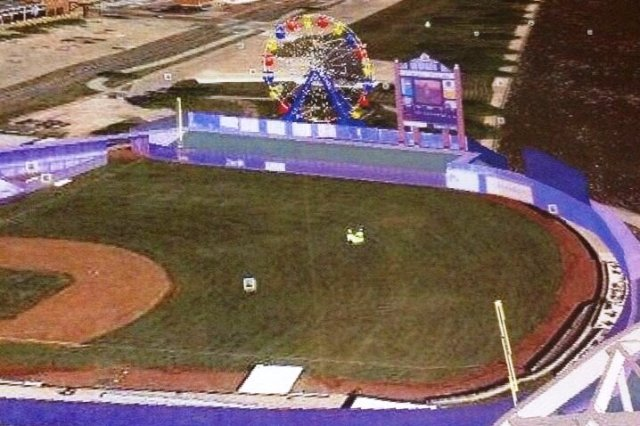 It looks like a long home run to left field could potentially hit the Ferris wheel.