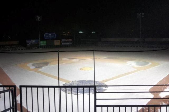 Snowbound Fifth Third Bank Ballpark, home of the Kane County Cougars, on Friday evening.