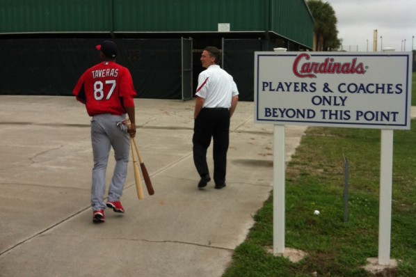 Oscar Taveras heads to BP on Friday in this photo by Cardinals beat writer Derrick Goold.