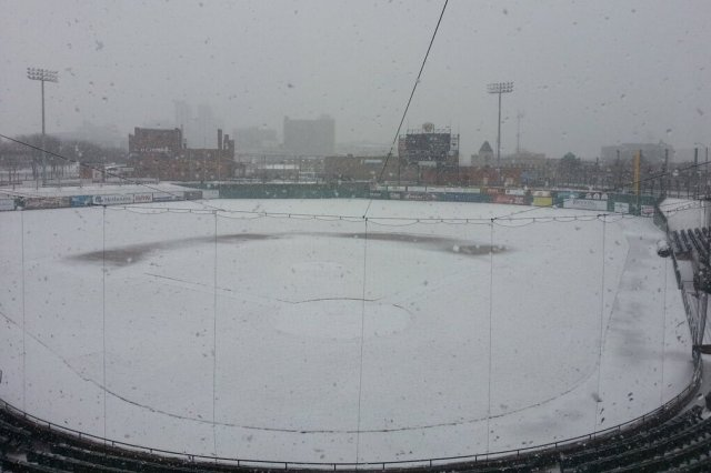 The snowy scene at Peoria Chiefs Stadium this afternoon.
