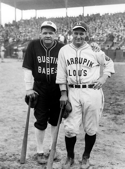 Babe Ruth and Lou Gehrig in their 1927 barnstorming uniforms. (Photo courtesy of Sports Illustrated)