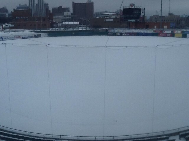 Snowbound Peoria Chiefs Stadium