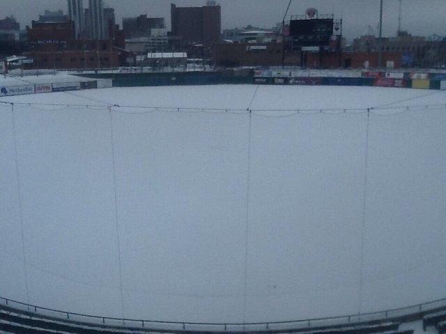 Snowbound Peoria Chiefs Stadium