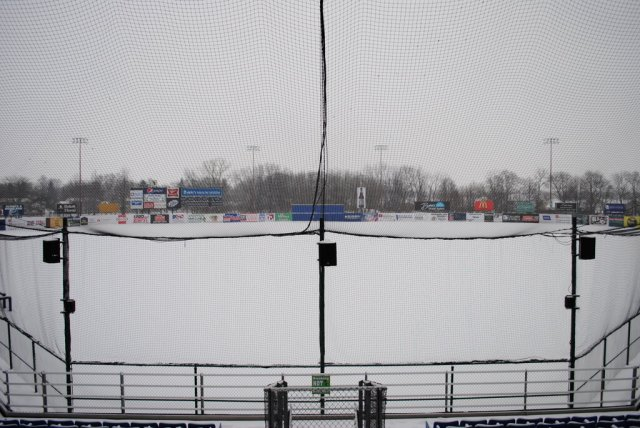 Snow-covered Pohlman Field in Beloit this morning.