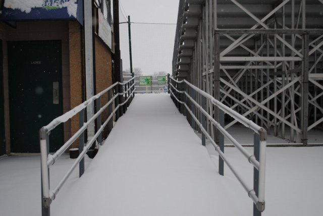 The snow-covered concourse at Pohlman Field this morning.