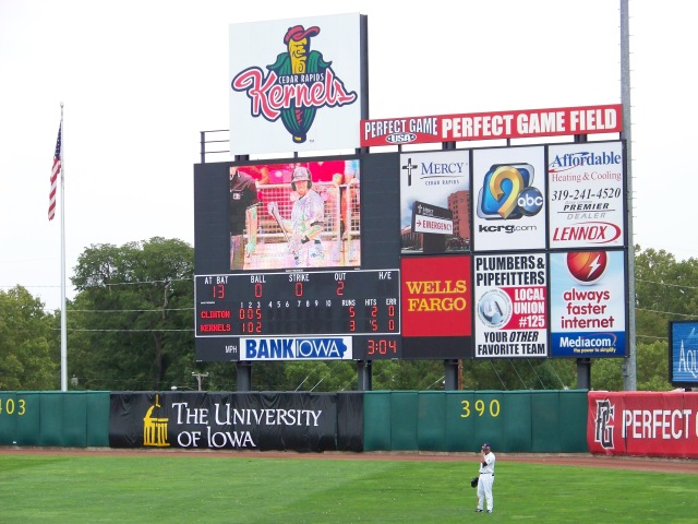 The old Kernels scoreboard that was replaced during the offseason.