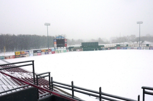 Fox Cities Stadium is still snowbound. (Photo courtesy of Rattler Radio)