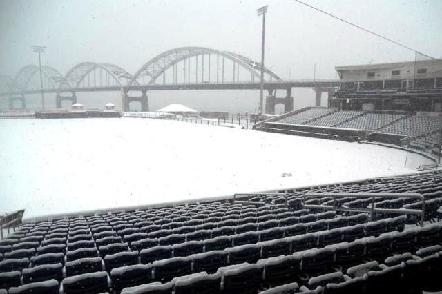 The snowy scene at Modern Woodmen Park earlier today. (Photo courtesy of the Quad Cities River Bandits)