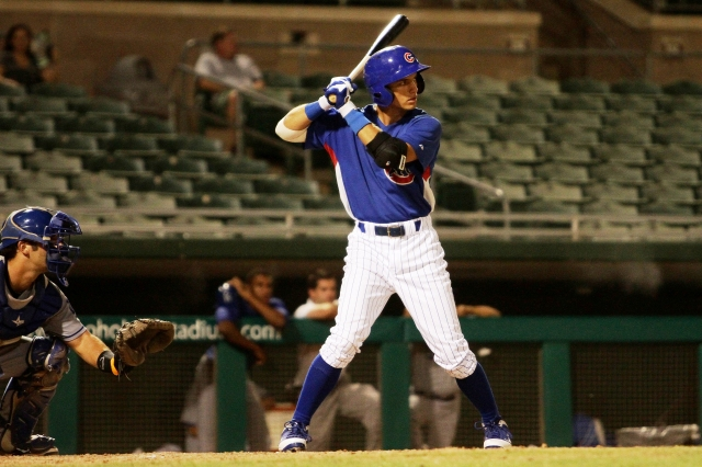 Cubs prospect Albert Almora bats during spring training this year. (Photo by Jason Wise)