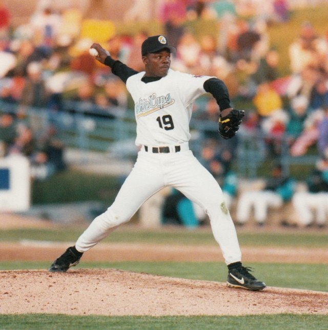 Fernando Rodney didn't wear his cap tilted when he pitched for West Michigan. (Photo courtesy of the Whitecaps)