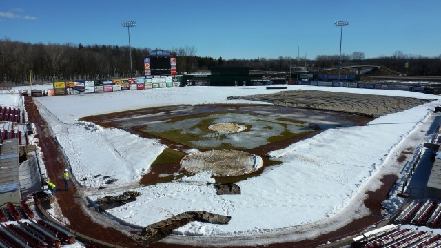 Aerial view of Time Warner Cable Field at Fox Cities Stadium on Wednesday. (Photo from Rattler Radio)