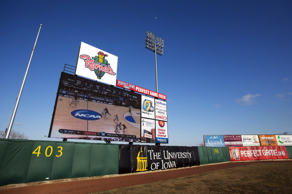 The Cedar Rapids Kernels unveiled their new 30-by-48-foot LED video board Thursday. (Photo by Liz Martin/The Gazette-KCRG)
