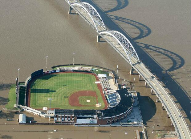 Modern Woodmen Park surrounded by water from the Mississippi River. (Photo courtesy of the Quad-City Times)